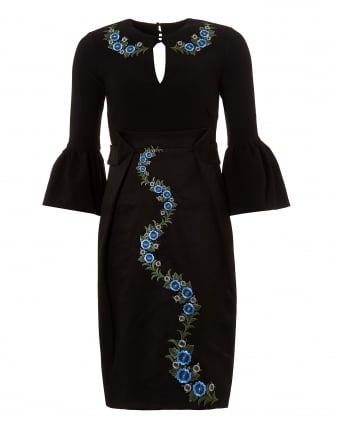 Womens Black Emblem Embroidered Bell Sleeve Dress