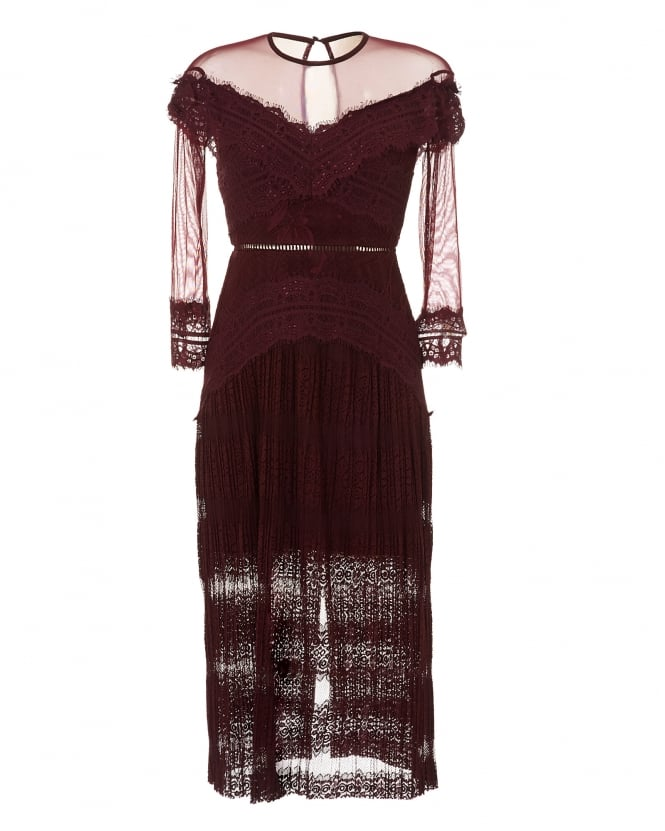 Three Floor Womens Grape Burgundy Perspective Lace Dress