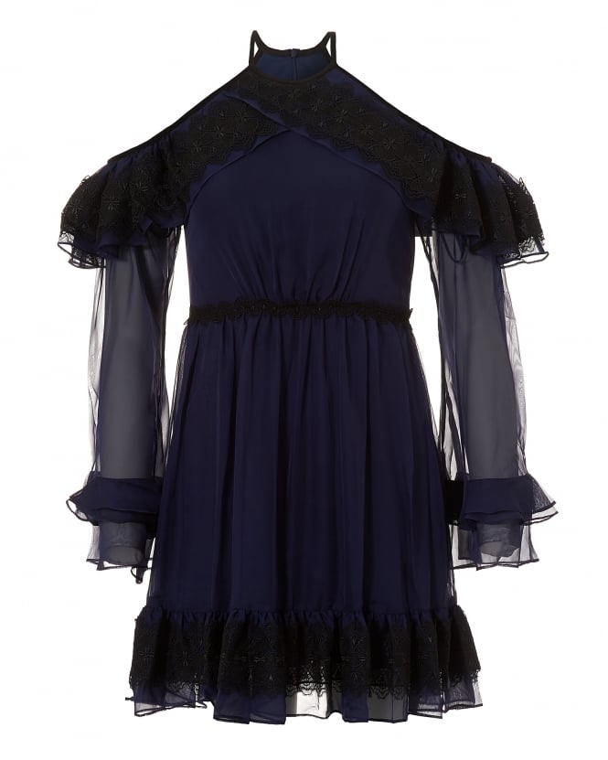 Three Floor Womens Navy/Black Frill Seeker Cold Shoulder Halterneck Dress