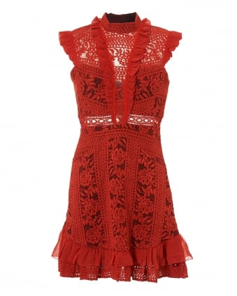 Womens Red Sienna High Neck Sleeveless Lace Mini Dress