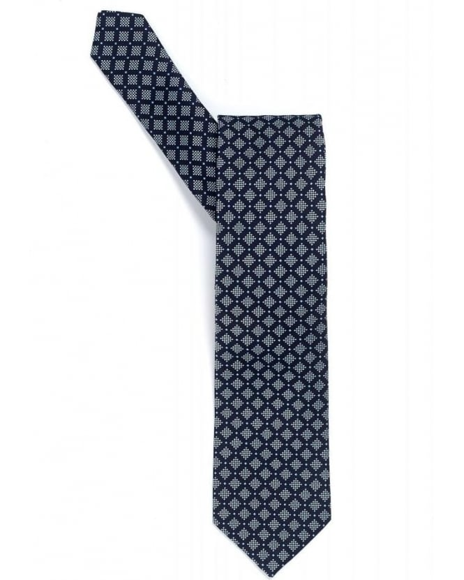 Hugo Boss Black Tie Navy Blue Traveller Diamond Silk Tie