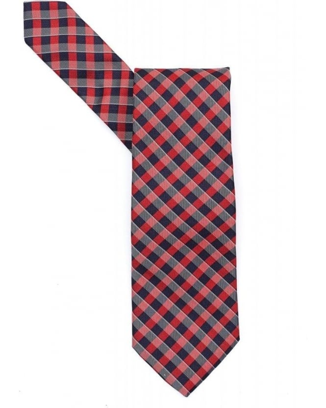Hugo Boss Black Tie Red Navy Diagonal Check Silk Tie