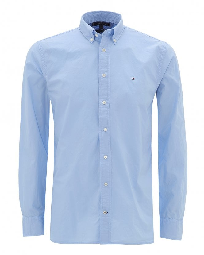 Tommy Hilfiger Mens Chambray Blue Pure Cotton Poplin Shirt