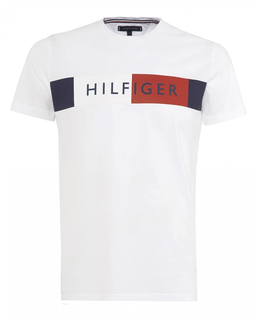 735a5d8a9 Tommy Hilfiger Mens Chest Stripe T-Shirt, Colour Block Tee