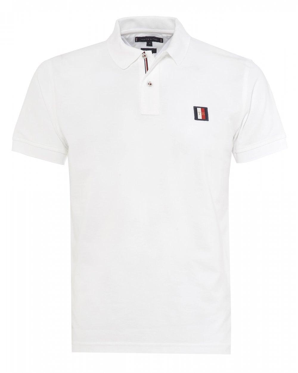 955ce543 Tommy Hilfiger Mens Monogram Badge White Polo Shirt