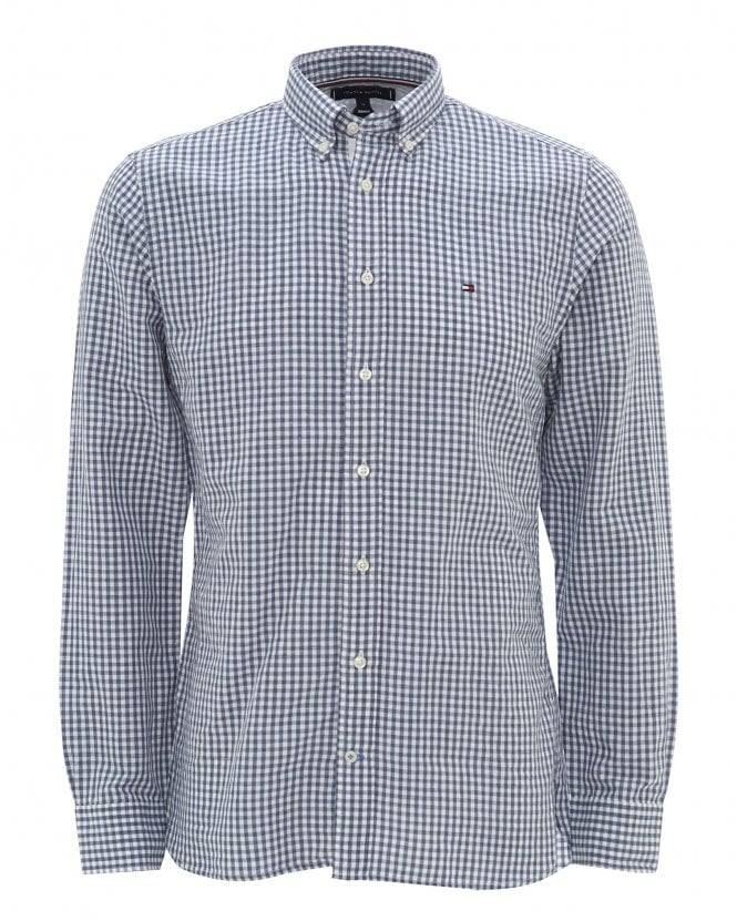 Tommy Hilfiger Mens Navy Gingham Check Cotton Shirt