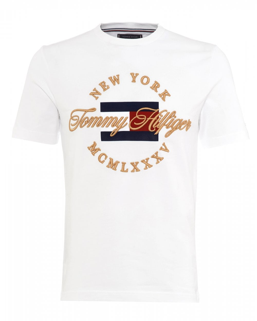 74871bad Tommy Hilfiger Mens NY Script Icon T-Shirt, Bright White Tee