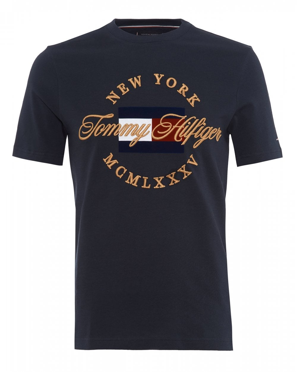 7a9358085 Tommy Hilfiger Mens NY Script Icon T-Shirt, Sky Captain Tee