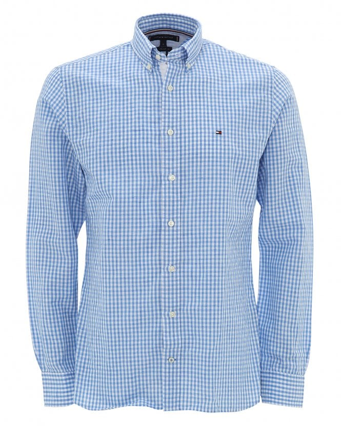 Tommy Hilfiger Mens Sky Blue Gingham Check Cotton Shirt