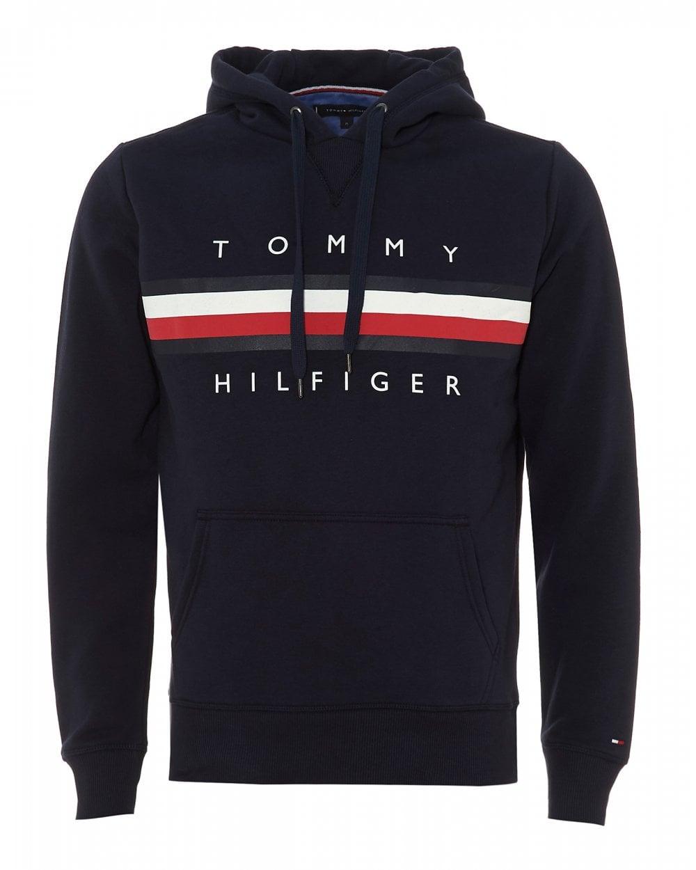 c345868e709 Tommy Hilfiger Mens Triple Stripe Navy Blazer Blue Hoodie