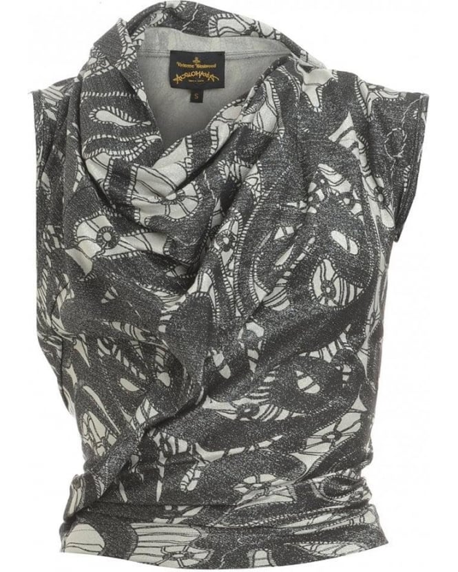 Vivienne Westwood Anglomania Top, Black and White Lace Print Cliff Top