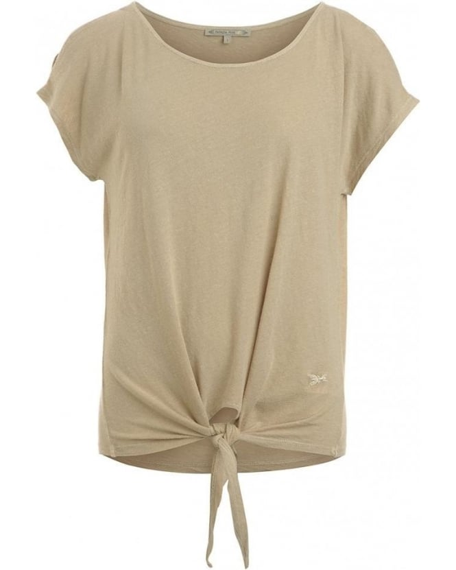 Patrizia Pepe Top, Sand Tied Short Sleeved Tee