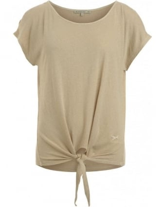 Top, Sand Tied Short Sleeved Tee