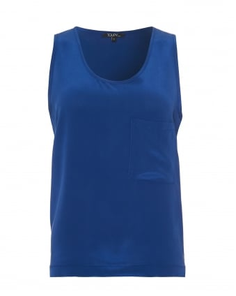 Womens Fender Top, Blue Chest Pocket Silk Vest