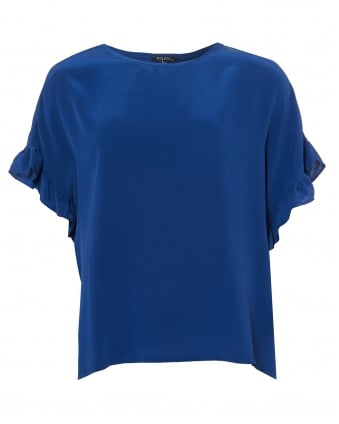 Womens Fire Top, Blue Ruffle Sleeve Blouse