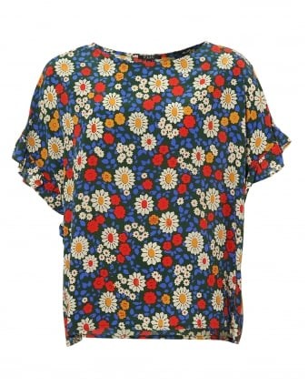 Womens Fire Top, Daisy Print Ruffle Sleeve Blouse