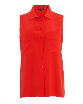 Womens Fisher Blouse, Sleeveless Pavot Red Shirt