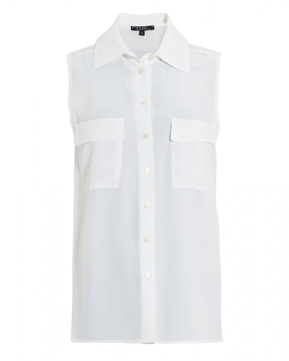 Toupy Womens Fisher Blouse Sleeveless White Shirt