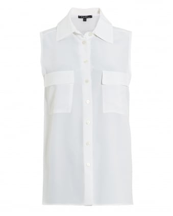 Womens Fisher Blouse, Sleeveless White Shirt