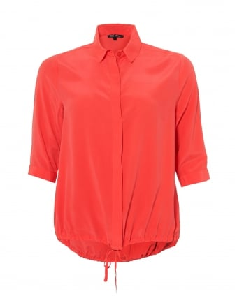 Womens Flandre Shirt, Florescent Orange Silk Blouse