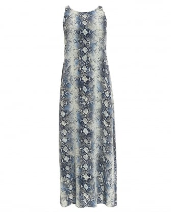 Womens Gal Gathered Python Blue Maxi Dress