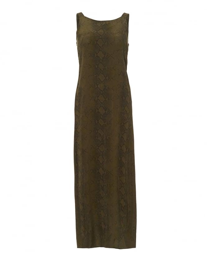 Toupy Womens Gal Khaki Python Print Maxi Dress