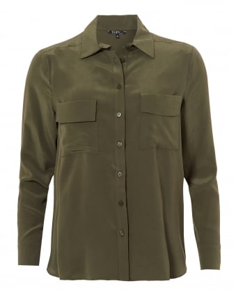 Womens Gala Blouse, Twin Pocket Army Green Shirt