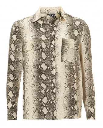 Womens Gala Blouse, Twin Pocket Beige Python Shirt