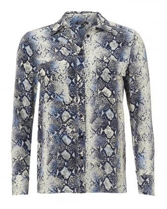 Womens Gala Blouse, Twin Pocket Blue Python Shirt