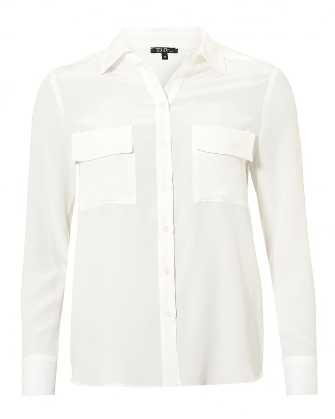 Toupy Womens Gala Blouse, Twin Pocket Optique White Shirt