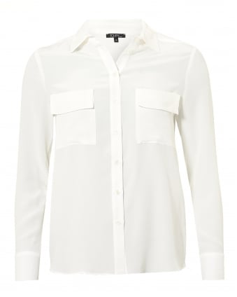 Womens Gala Blouse, Twin Pocket Optique White Shirt