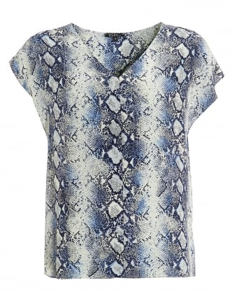 Womens Genice T-shirt, V-Neck Python Blue Top