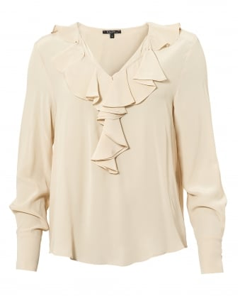 Womens Jaina Top, Ruffled V Neck Coquille Cream Blouse