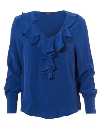 Womens Jaina Top, Ruffled V Neck Klein Blue Blouse