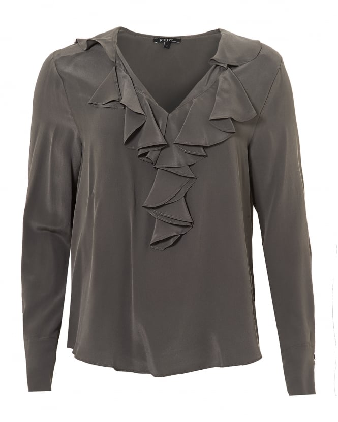 Toupy Womens Jaina Top, Ruffled V Neck Souris Grey Blouse