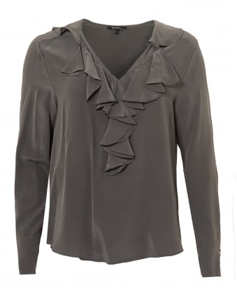 Womens Jaina Top, Ruffled V Neck Souris Grey Blouse