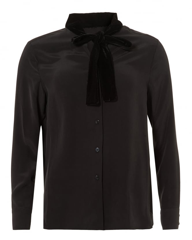 Toupy Womens Nano Blouse, Velvet Neck Tie Black Shirt