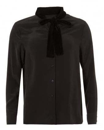 Womens Nano Blouse, Velvet Neck Tie Black Shirt