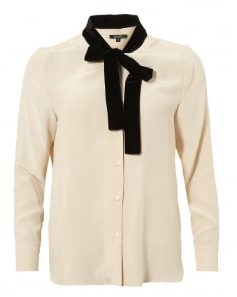 Womens Nano Blouse, Velvet Neck Tie Coquille Cream Shirt