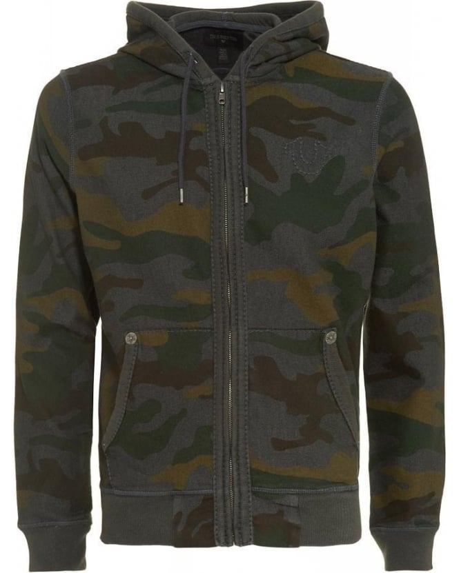 True Religion Jeans Tracksuit Top, Camouflage Print Olive Green Hoodie