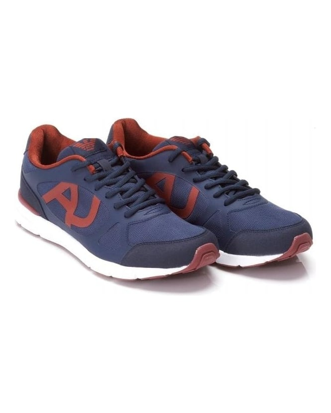 Armani Jeans Trainers, Blue And Red Mesh Lace Up Sneakers