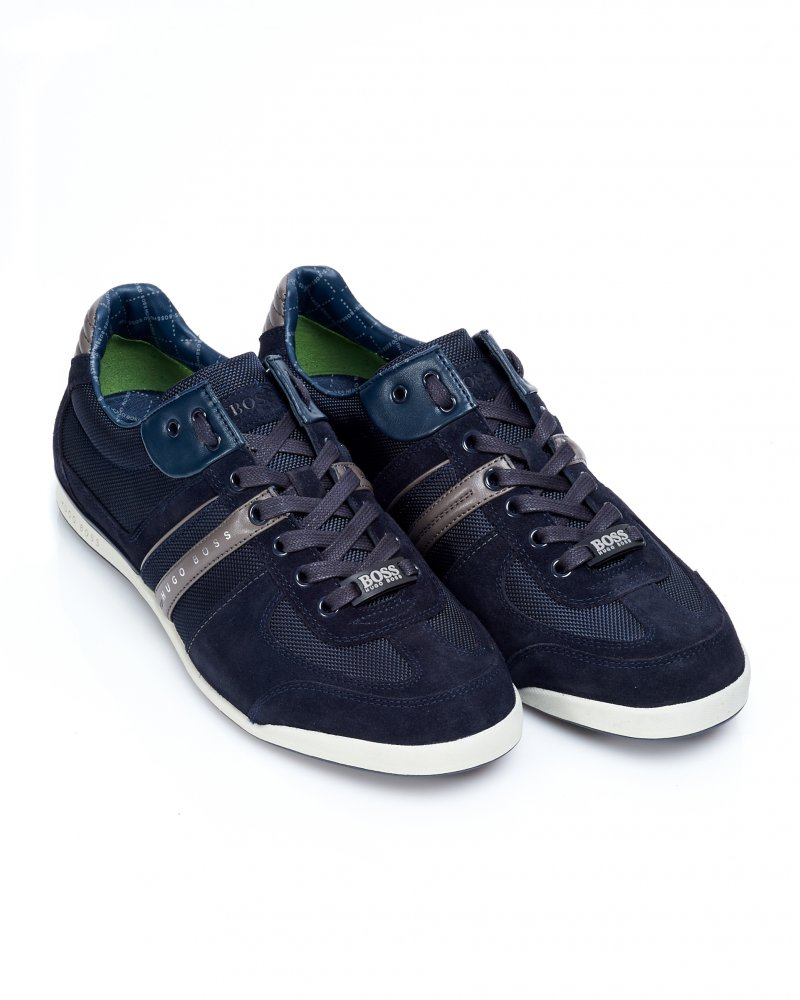 hugo boss green trainers navy blue suede 39 akeen 39 sneakers. Black Bedroom Furniture Sets. Home Design Ideas