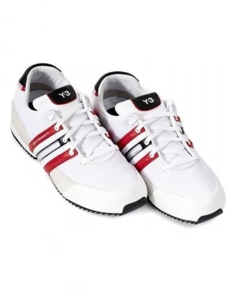Trainers White & Red Sprint Leather Mesh Trainer