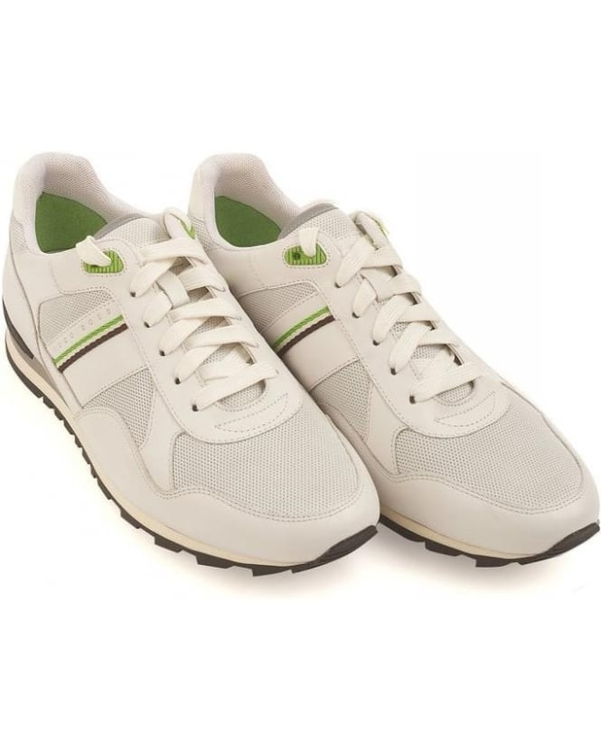 Hugo Boss Green Trainers White Runcool Perf Leather Sneakers