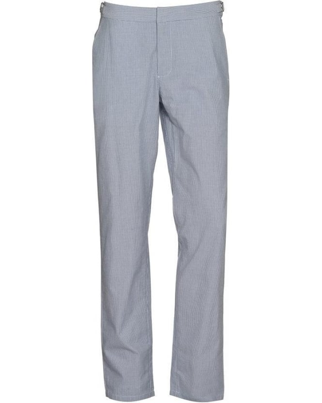 Orlebar Brown Trousers Bedlington Blue Seersucker Linen Trouser