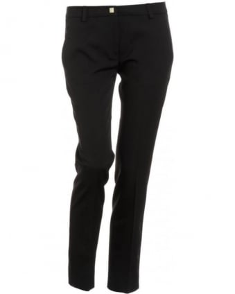 Trousers, Black Cropped Stretch Trousers