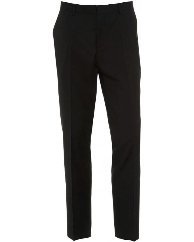 Hugo Boss Black Trousers, 'Genesis 2' Black Slim Fit Wool Business Trouser