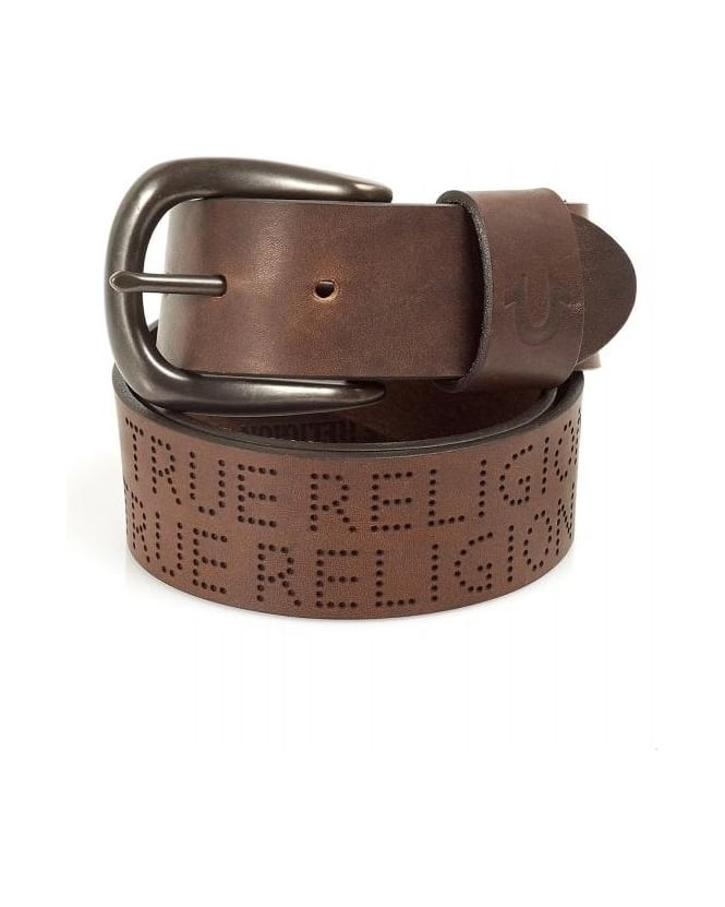 True Religion Jeans Brown Perforated Text Belt