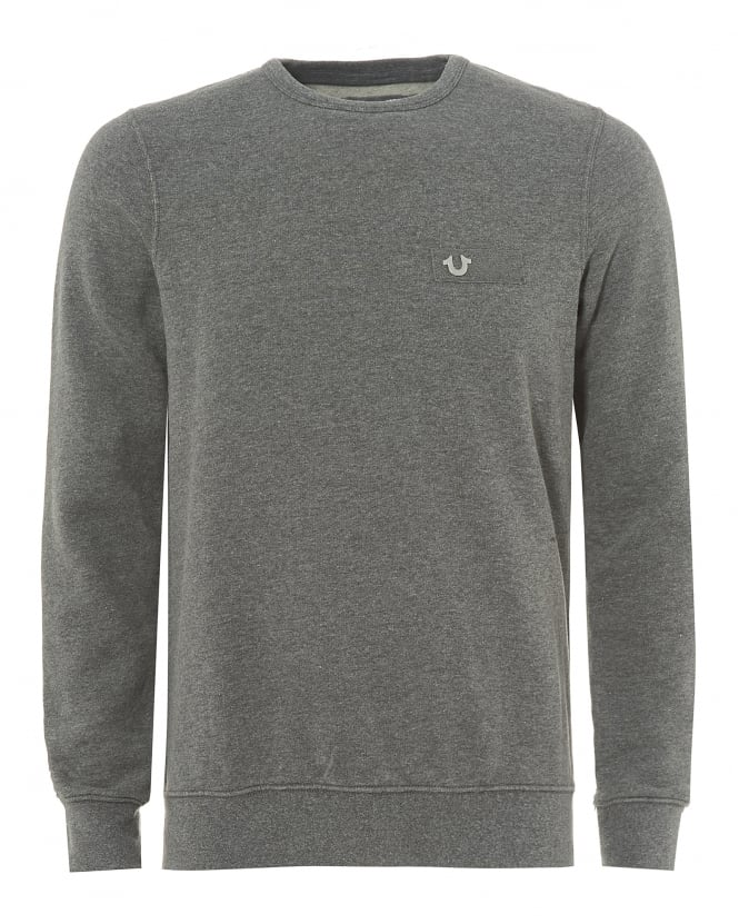 True Religion Jeans Dark Grey Sweatshirt, Metal Horseshoe Badge Jumper