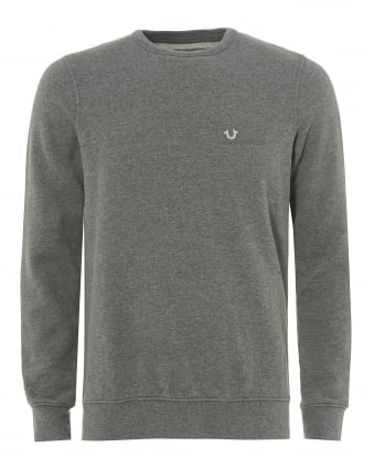Dark Grey Sweatshirt, Metal Horseshoe Badge Jumper